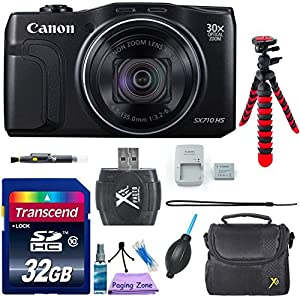 Canon PowerShot SX710 HS Digital Camera (Black) - Wi-Fi Enabled w/ 8pc Accessory Bundle