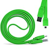 Online-Gadgets UK - Nokia Asha 500 Super Fast 1 Metre Micro USB Flat Data Transfer Sync Charger Cable - Green