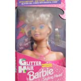 Glitter Hair BARBIE STYLING HEAD W Glitter Gel & Magical Comb & MORE! (1993 Arcotoys, Mattel)