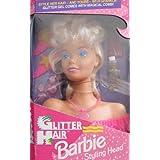 Glitter Hair BARBIE STYLING HEAD W Glitter Gel & Magical Comb & MORE! (1993 Arcotoys, Mattel)