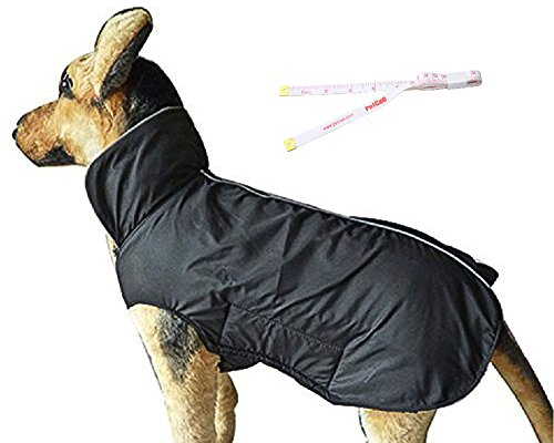 PetCee Waterproof Dog Fleece Jacket 100% Polyester- Fleece Lined Reflective Loft Climate Changer Dog Coat (Black XXL) (Winter Jacket For Bulldog compare prices)