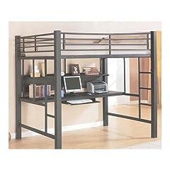 Coaster Fine Furniture 460023 Loft Bed with Workstation Black Finish