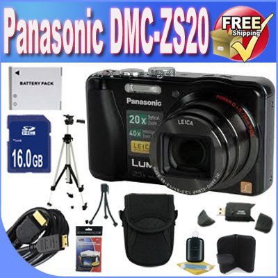 Panasonic Lumix ZS20 14.1 MP High Sensitivity MOS Digital Camera with 20x Optical Zoom + 16GB SDHC Class 10 Memory + Extended Life Battery + USB Card Reader + Memory Card Wallet + Deluxe Case w/Strap + Mini HDMI to HDMI Cable + Shock Proof Deluxe Case + Professional Full Size Tripod + DMCZS20 Accessory Saver Bundle!