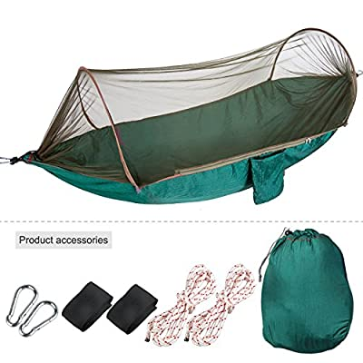 Portable Mosquito Net Hammock + Rope Saver Straps, Oumers Mosquitonet Camping Hammock, Free Sleeping Netting Cocoon Parachute Nylon Fabric Hanging Bed Outdoor Travel Hiking Backpacking Backyard