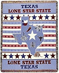 "Texas Lone Star State Tapestry Throw Afghan 50"" x 60"""