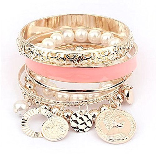 Cinderella Collection By Shining Diva Stylish Pearl Coins Element Exquisite Charm Multilayer Bangle And Bracelet For Girls
