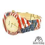 American Flag Unisex Watch Geneva Patriot USA Gold Tone Platinum Unique Hot New