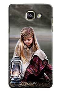 Blue Throat Girl With Lamp Hard Plastic Printed Back Cover/Case For Samsung Galaxy A7 2016