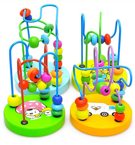 Xidaje Fun Game Infant Kids Wooden Toy Small Around Beads Wire Maze Educational front-531568