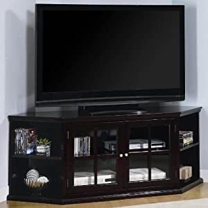 espresso finish wood corner tv stand with glass front cabinet doors and storage. Black Bedroom Furniture Sets. Home Design Ideas