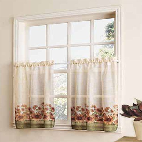 Curtain Closeout Sunflower Kitchen Window Tiers, 56 By 30
