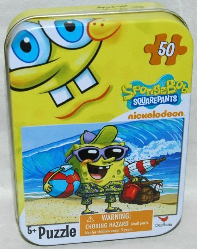 Spongebob Squarepants 50-Piece Jigsaw Puzzle in a Tin - At the Beach - 1