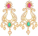 Violet and Purple Alloy Gold Plated Chandbali Earrings for Women (1000031024)