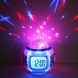 ECOMGEAR(TM)Music Starry Star Sky Projection Alarm Clock Calendar Thermometer