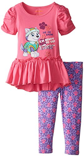 Nickelodeon Little Girls' 2 Piece I'M Ready To Go Paw Patrol Legging Set, Pink, 4T