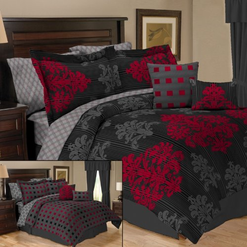 Twin Black Red Grey Reversible Comforter Sheets Bed In A