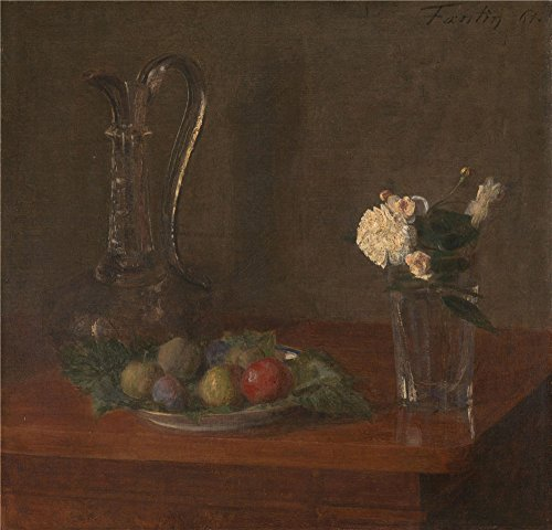 'Ignace Henri Thodore Fantin Latour Still Life With Glass Jug Fruit And Flowers ' Oil Painting, 18 X 19 Inch / 46 X 48 Cm ,printed On High Quality Polyster Canvas ,this Best Price Art Decorative Prints On Canvas Is Perfectly Suitalbe For Dining Room Decoration And Home Gallery Art And Gifts