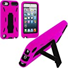 Pink / Black Hybrid Rugged Hard Silicone Case Cover w/ Stand for Apple iPod Touch 5th Generation 5G 5