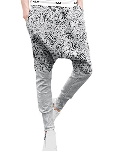 Men Elastic Waist Floral Prints Hip-Hop Crotch Casual Harem Pants