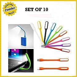 SET OF 10 Portable Flexible Energy-saving USB LED Lamp 5V 1.2W for Computer/PC Notebook Laptop Tablet Desktop Lamp for Power Bank High illuminance