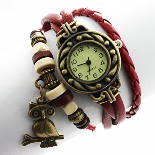Owl Pendant Quartz Fashion Weave Wrap Around Leather Bracelet Lady Woman Wrist Watch (Wine Red)