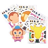 ~ 12 ~ Make-a-Zoo Jungle Animal Sticker Sheets ~ New