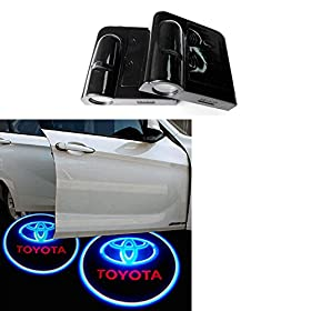 Soondaru00ae 2 pcs Universal Wireless Car Projection LED Projector Door Shadow Light Welcome Light Laser Emblem Logo Lamps Kit, No Drilling (Toyota) - No Drilling Required