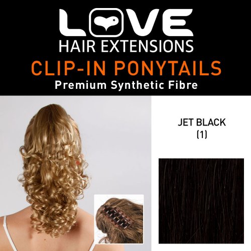Love Hair Extensions Curly Crocodile Clip Synthetic Hair Ponytail Colour 1 Jet Black 12 -Inch