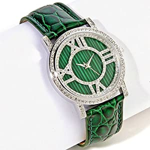 Limited Edition Couture Watches by Adrienne - Malachite-Green Crocodile Embossed Leather Watch