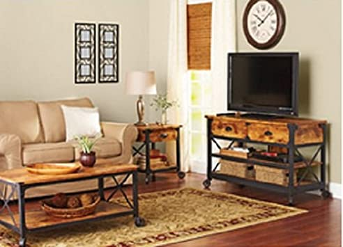 Vintage Rustic Vintage Country Coffee Table End Table u TV Stand Set This Rustic Living