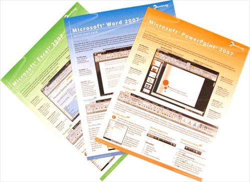 Microsoft Office 2007 Home & Student Quick Reference Card Bundle-3 Ms Office Productivity Software Quick Start Training Cards: Learn Word, Excel & Powerpoint. Computer Shortcuts, Cheats, Tips & Tricks Guides. 6 Pages Ea, Tri-Fold. Stores Easy. (Software Q