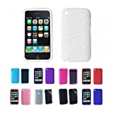 Apple iPhone 3G 3Gs 8GB 16GB 32GB Textured Silicone Skin Case Cover, White, One Size