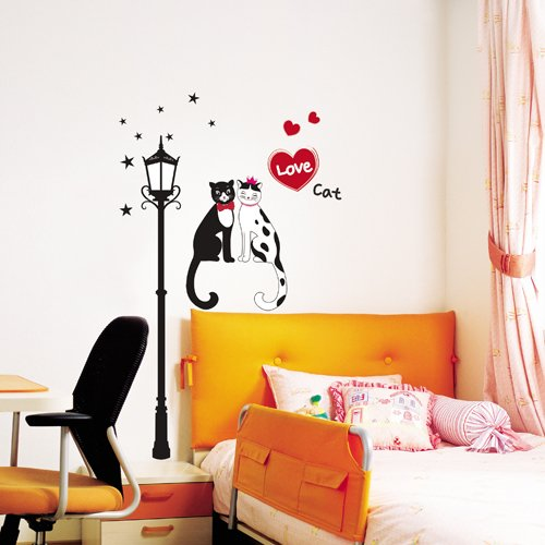 Easy Instant Decoration Wall Sticker Decal - Romantic Cat Couple