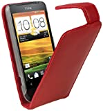 IGadgitz Leather Case Cover Holder with Screen Protector for HTC One V Primo T320e - Red