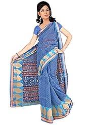 DesiButik's Blue Banarasi Net Saree With Blouse
