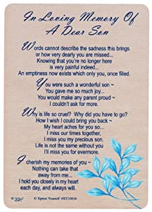 Memorial Graveside Card - In Loving Memory Of A Dear Son