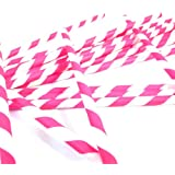 Bella Cupcake Couture Paper Party Striped Straws, Pink/White