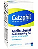 Cetaphil Antibacterial Gentle Cleansing Bar, 4.5 Ounce Bar (Pack of 3)