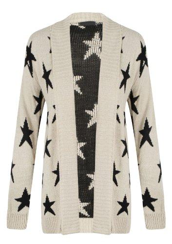Womens Ladies Skull Star Leopard Cross Print One Size Knitwear Open Cardigan Top