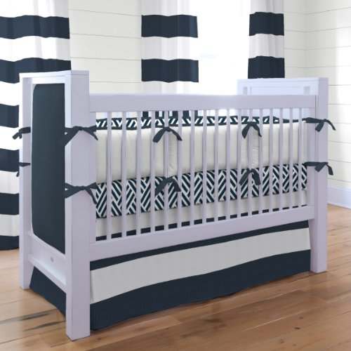 Navy And White Crib Bedding 2300 front