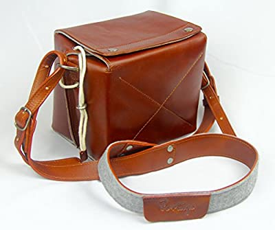 Portage Genuine Leather and Wool Felt Box Camera Bag with Shoulder Strap for DSLR Nikon Canon