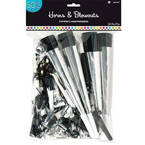 Classic Black and White Birthday Party Horns and Blowouts , Pack of 50, Multi , 15