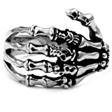 Stainless Steel Biker Ring with Gothic Skeleton Hand-Noureda
