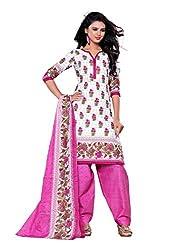 Woman's White Pink Cotton Printed Dress Materials(BG211m)