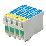 4 Compatible Cyan Printer Ink Cartridges to replace T0792 for use in Epson Stylus Photo 1400 & 1410