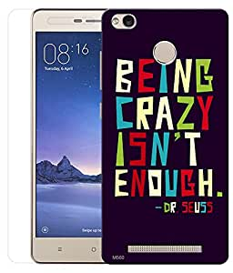 Indiashopers Combo of Being Crazy HD UV Printed Mobile Back Cover and Tempered Glass For Xiaomi Redmi Note 3S Prime