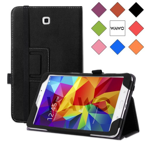 Best Deals! WAWO Samsung Galaxy Tab 4 8.0 Inch Tablet Smart Cover Creative Folio Case - Black