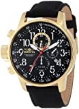 "Invicta Mens 1515 I ""Force Collection"" 18k Gold Ion-Plated Stainless Steel and Black Cloth Watch"