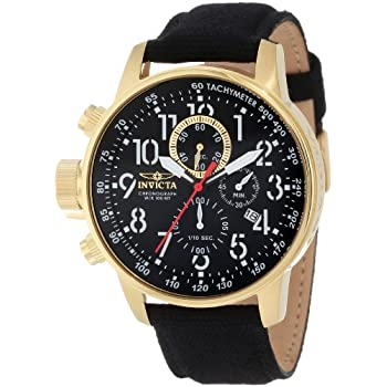 Certainly to be reckoned the Force chronograph collection. Polished 18k gold-tone stainless steel case measures 45mm diameter by 12mm thick. Black canvas and leather strap includes a convenient stainless steel buckle. Stark black dial has white lumin...