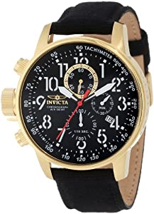 "Invicta Men's 1515 I ""Force Collection"" 18k Gold Ion-Plated Stainless Steel and Black Cloth Watch"